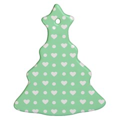Hearts Dots Green Christmas Tree Ornament (two Sides)