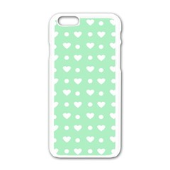 Hearts Dots Green Apple Iphone 6/6s White Enamel Case