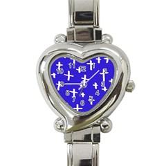 Blue White Cross Heart Italian Charm Watch by snowwhitegirl