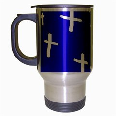 Blue White Cross Travel Mug (silver Gray)