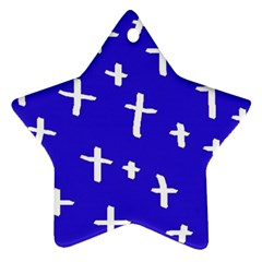 Blue White Cross Star Ornament (two Sides)