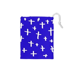 Blue White Cross Drawstring Pouch (small)