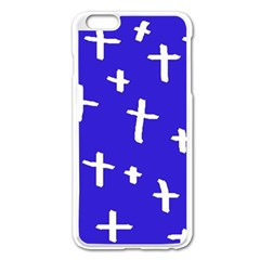 Blue White Cross Apple Iphone 6 Plus/6s Plus Enamel White Case