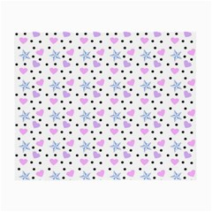 Hearts And Star Dot White Small Glasses Cloth