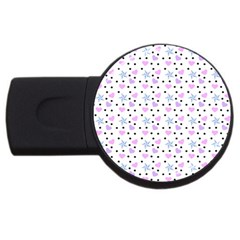 Hearts And Star Dot White Usb Flash Drive Round (4 Gb) by snowwhitegirl