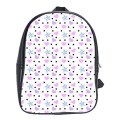 Hearts And Star Dot White School Bag (large)
