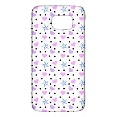 Hearts And Star Dot White Samsung Galaxy S6 Hardshell Case