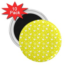 Hearts And Star Dot Yellow 2 25  Magnets (10 Pack)