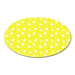 Hearts And Star Dot Yellow Oval Magnet