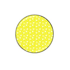 Hearts And Star Dot Yellow Hat Clip Ball Marker (10 Pack)