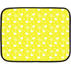 Hearts And Star Dot Yellow Double Sided Fleece Blanket (mini)