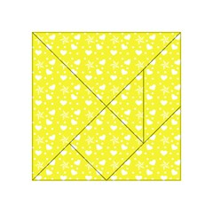 Hearts And Star Dot Yellow Acrylic Tangram Puzzle (4  X 4 )