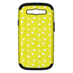 Hearts And Star Dot Yellow Samsung Galaxy S Iii Hardshell Case (pc+silicone)
