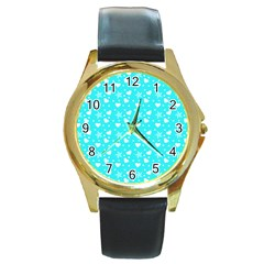 Hearts And Star Dot Blue Round Gold Metal Watch