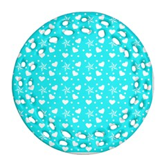 Hearts And Star Dot Blue Ornament (round Filigree)