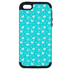 Hearts And Star Dot Blue Apple Iphone 5 Hardshell Case (pc+silicone)