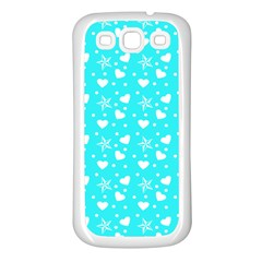 Hearts And Star Dot Blue Samsung Galaxy S3 Back Case (white)