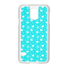 Hearts And Star Dot Blue Samsung Galaxy S5 Case (white)