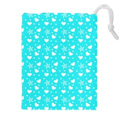 Hearts And Star Dot Blue Drawstring Pouch (xxl)