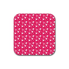 Hearts And Star Dot Pink Rubber Square Coaster (4 Pack)