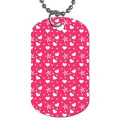 Hearts And Star Dot Pink Dog Tag (one Side)