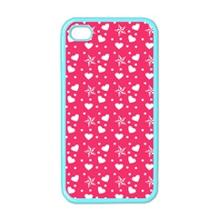 Hearts And Star Dot Pink Apple Iphone 4 Case (color)