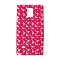 Hearts And Star Dot Pink Samsung Galaxy Note 4 Hardshell Case