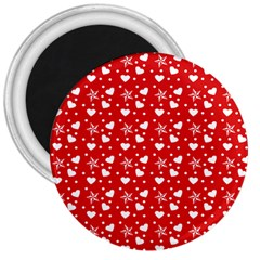 Hearts And Star Dot Red 3  Magnets