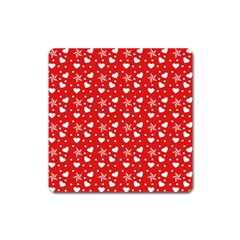 Hearts And Star Dot Red Square Magnet