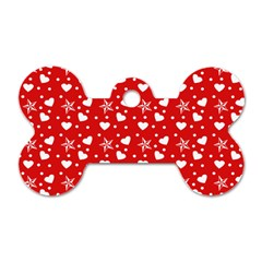 Hearts And Star Dot Red Dog Tag Bone (two Sides)