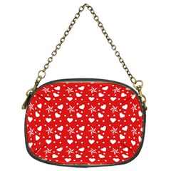 Hearts And Star Dot Red Chain Purse (one Side)