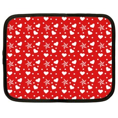 Hearts And Star Dot Red Netbook Case (xl)