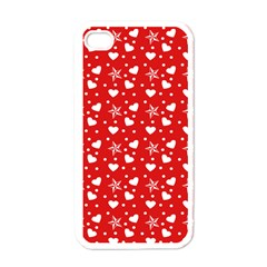 Hearts And Star Dot Red Apple Iphone 4 Case (white)