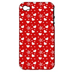 Hearts And Star Dot Red Apple Iphone 4/4s Hardshell Case (pc+silicone)