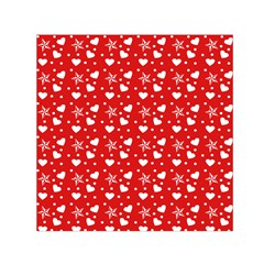 Hearts And Star Dot Red Small Satin Scarf (square)