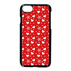 Hearts And Star Dot Red Apple Iphone 7 Seamless Case (black)