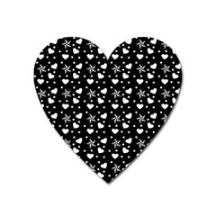 Hearts And Star Dot Black Heart Magnet