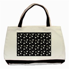 Hearts And Star Dot Black Basic Tote Bag (two Sides)
