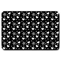 Hearts And Star Dot Black Large Doormat  by snowwhitegirl