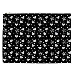 Hearts And Star Dot Black Cosmetic Bag (xxl) by snowwhitegirl