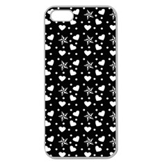 Hearts And Star Dot Black Apple Seamless Iphone 5 Case (clear)