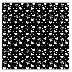Hearts And Star Dot Black Large Satin Scarf (square)