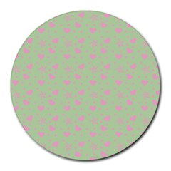 Hearts And Star Dot Green Round Mousepads