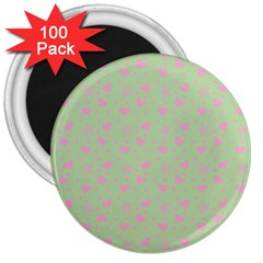 Hearts And Star Dot Green 3  Magnets (100 Pack)
