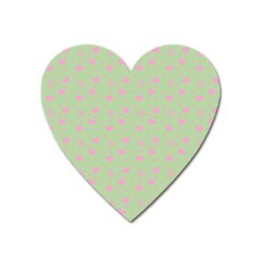 Hearts And Star Dot Green Heart Magnet