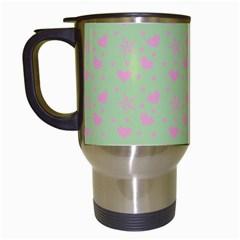 Hearts And Star Dot Green Travel Mugs (white)