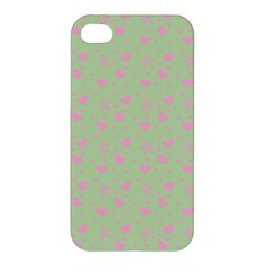 Hearts And Star Dot Green Apple Iphone 4/4s Hardshell Case