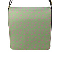 Hearts And Star Dot Green Flap Closure Messenger Bag (l)