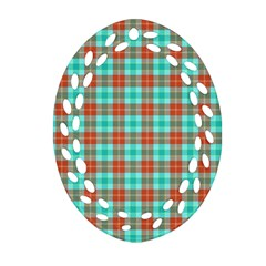 Aqua Orange Plaid Oval Filigree Ornament (two Sides)