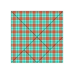Aqua Orange Plaid Acrylic Tangram Puzzle (4  X 4 )